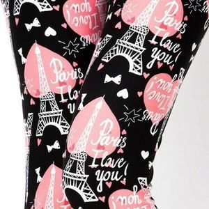 I Love You Paris Leggings Womens Plus (14-20)